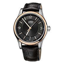 Oris Classic Date Automatic Steel & Rose Gold Plated Mens Strap Watch Date 733-7578-4334-LS