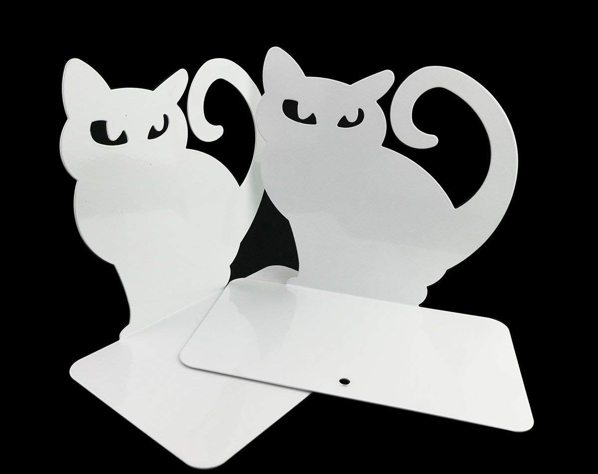 Verde RENKJ 2 PZ fermalibri a Forma di Gatto a Tema Animali Simpatico Cartone Animato per Bambini Regalo e Materiale Scolastico