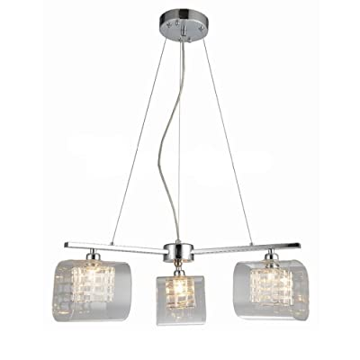 3 Light Modern Glass Chandeliers Plafonnier Pendentif Light Shade, Fancy Glass Hanging Lamp avec ampoule G9, Iron Finished