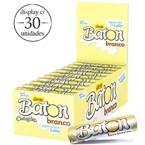 Garoto - Baton - White Cylinder Chocolate Bar - 16.93 Oz (PACK OF 30) | Barras Cilíndricass de Chocolate Branco 30x16g - 480g (Garoto Candy)
