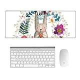 HaloVa Mouse Pad, Extended Rubber Large Gaming Mousepad, Beautiful Professional-Grade Mouse Mat with Non-Slip Base for Home Office Desktop Laptop Computer PC, Flowers, 16 x 35 x 0.2 Inches