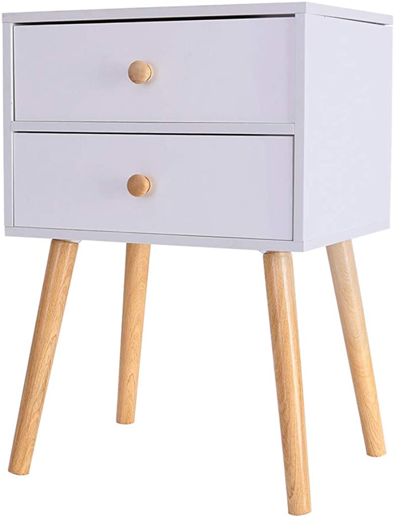 Fullyday 2 Drawer Nightstand, Modern Minimalist Bedside Cabinet, Solid Wood Legs, Ship from USA