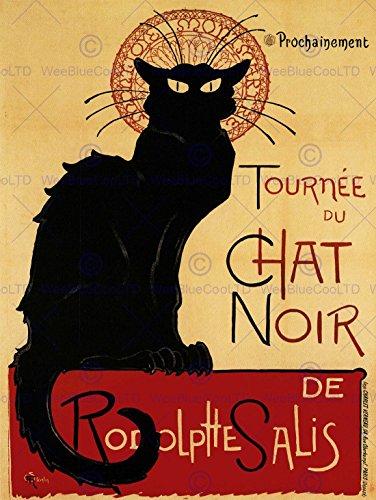BLACK CAT CHAT NOIR RODOLPHE SALIS PARIS FRANCE VINTAGE POSTER ART PRINT 12x16 inch 30x40cm (Chat Noir Poster)