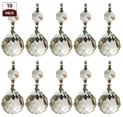 Royal Designs Replacement Chandelier Crystal Prism Clear K9 Quality Faceted Ball with Chrome Connectors and an Octogan Crystal Beads Pack of 10 (Prism Globe)