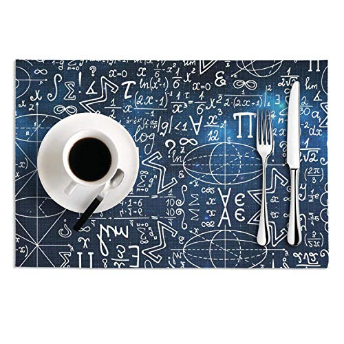 Quinnteens Washable Table Mats Blue Galaxy Mathematical Signs Formula Non-Slip Insulation Placemat (2pcs placemats,12x18 inch)