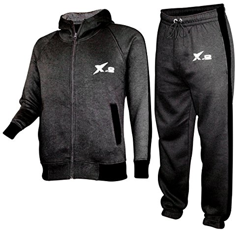 Athletic Suit Fleece (X-2 Mens Athletic Fleece Tracksuit Jogging Sweatsuit Activewear Hooded Top Charcoal XXXL)
