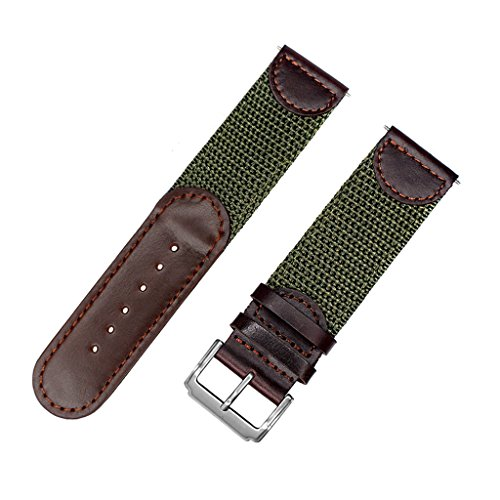 IVAPPON Men's Calfskin Leather and Nylon NATO Watch Strap Swiss-Army Style Watch Band (Brown with Olive, 20mm) (Swiss Army Watch Band Loop)
