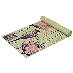 """Gaiam Yoga Mat - Classic 4mm Print Exercise & Fitness Mat for All Types of Yoga, Pilates & Floor Exercises (68"""" x 24"""" x 4mm Thick)"""