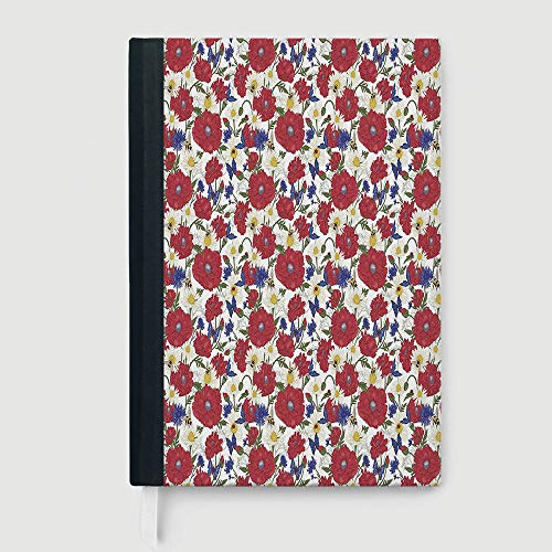 - Hardcover Executive Notebook,Floral,Notebook,Blooming Red Poppies Chamomile Ladybird and Daisies Bumblebee Bees and Butterflies Decorative,96 sheets/192 pages,A5/8.24x5.73 in