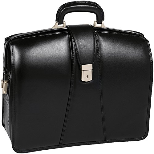 McKleinUSA Harrison [Personalized Initials Embossing] 15.6'' Leather Partners Laptop Briefcase in Black by McKlein