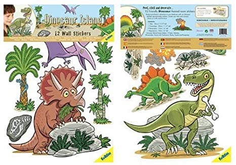 FunToSee Dinosaurs Boys Nursery and Bedroom Wall Decals, Dinosaur