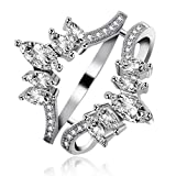 Uloveido Women's Marquise Cut AAA White Cubic Zirconia Double Wedding Band Ring Guard Enhancer Engagement Y445
