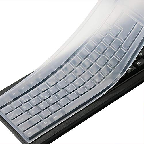 (Clear Desktop Computer Keyboard Cover Skin for PC 104/107 Keys Standard Keyboard, Anti Dust Waterproof Keyboard Protective Skin)