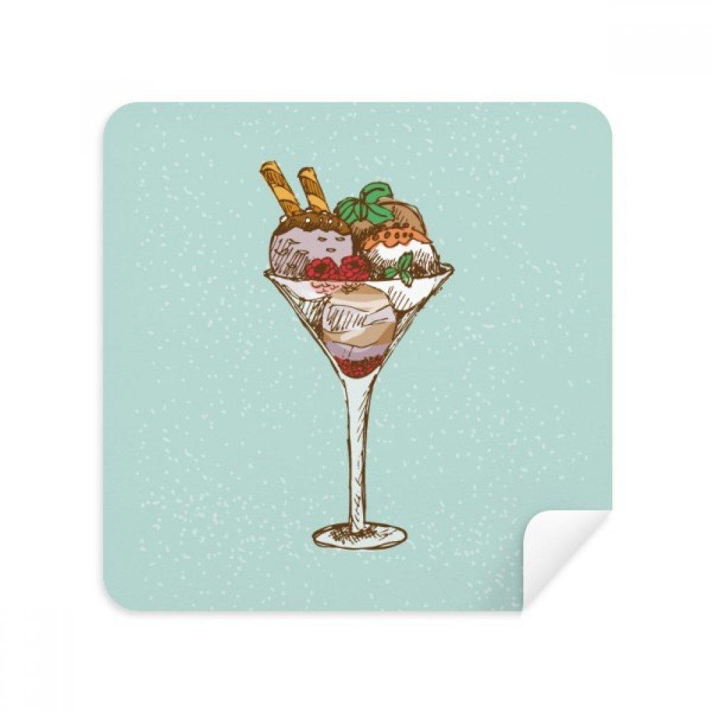 Leaves Flower Gobletアイスクリームボールメガネクリーニングクロス電話画面クリーナースエードファブリック2pcs   B07CCMZNBF