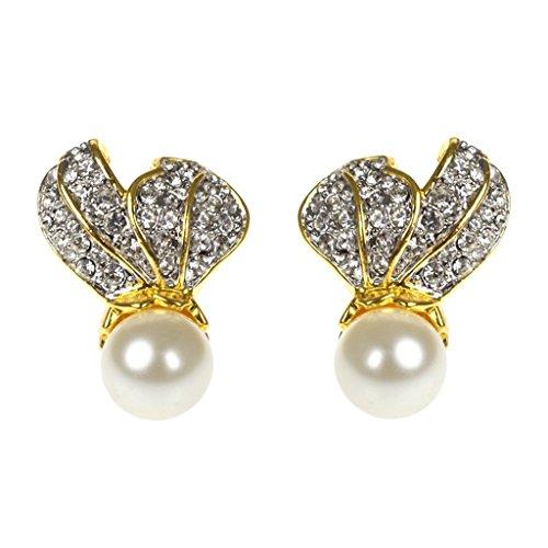 Crystal Leaf Top W/Pearl Bottom Earrings