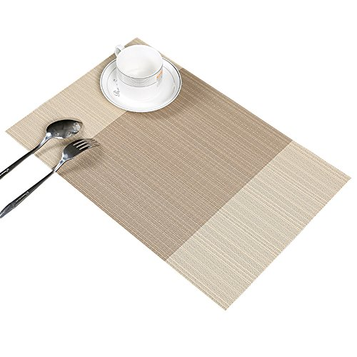 Guwheat Placemats Dining Room Table Mats Woven Vinyl Washable Durable Heat-resistant Non-skip Kitchen Strip PVC Placemats (6, Beige) …