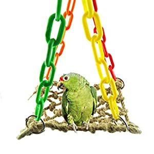 Hemp rope hammock swing toy for bird parrot for African rope fish