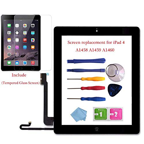 for iPad 4 Glass Touch Screen Digitizer Replacement Kit Black A1458, A1459, A1460 with Home Button Flex, Adhesive Tape, Midframe Bezel, Screen Protector, Instruction Manual,and Repair Toolkit (4 Screen Ipad A1458 Replacement)