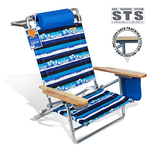 690GRAND Best Folding Beach Chair 5 Position Lay Flat Reclining with Extra Wide Seating Area Cup Holder and Storage Pouch Lightweight Aluminum Frame for Camping Hiking by 690GRAND (Image #1)