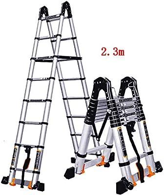 CAIJUN Escalera Telescópica Portátil Espesar Plegable Aleación De Aluminio Uso Dual Levantando Escaleras Escalera En Espiga La Seguridad, 2 Tamaños (Tamaño : A-2.3m): Amazon.es: Hogar