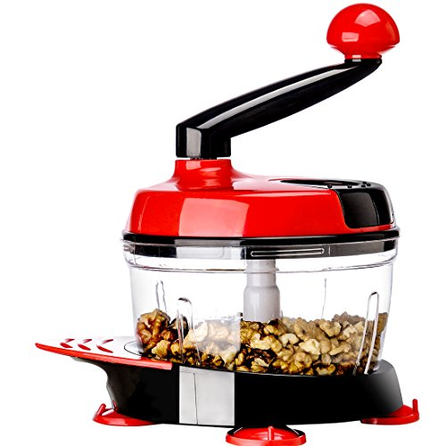 Migecon Manual Food Processor:A Hand Powered Multifunctional Kithchen food chopper(red)