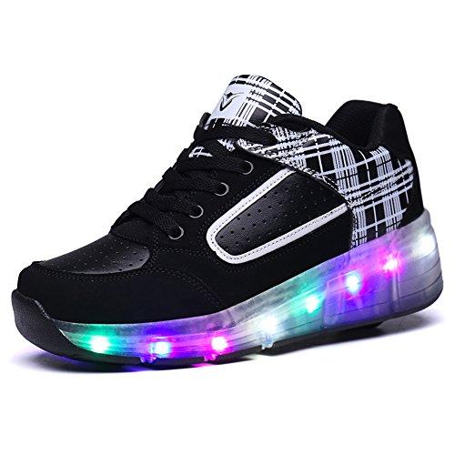 HUSKSWARE Multi-Color LED Lighting Roller Skate Shoes Sport Sneaker for Little Kid/Big Kid,Blackwhite,4.5 M US Big Kid