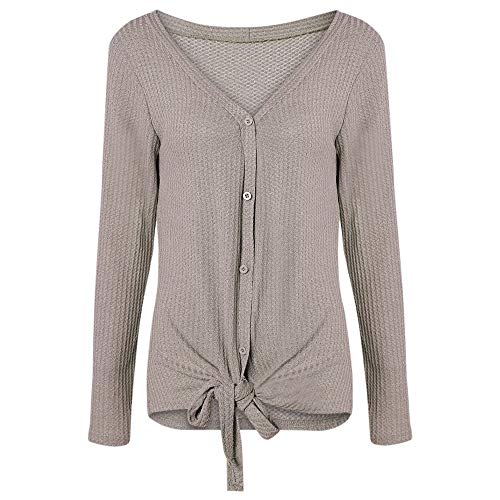V Neck Long Sleeve Button Tied Ribbed Knit Cardigan Women Sw