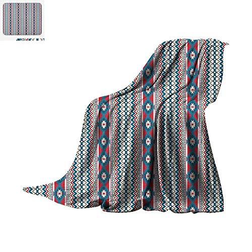 Sleeper Taggies (Native American Warm Microfiber All Season Blanket Ethnic Seamless Ikat Style Pattern Chevron Zig Zag Lines Summer Quilt Comforter 80