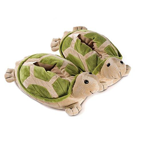 funslippers®, lustige Hausschuhe Tiere Tierhausschuhe Erwachsene und Kinder Schadstoffgeprüft** Schildkröte Plüsch Hausschuhe mit Gummisohle