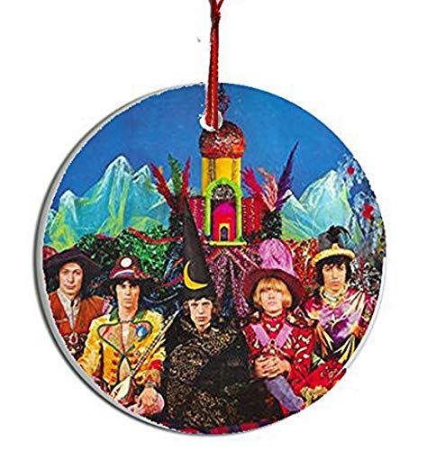 Handmade by Senor Swag ~ Rolling Stones Collectible Christmas Ornament #2 ~ Porcelain Disc. HD Printed Both Sides ~ Includes Gift Box