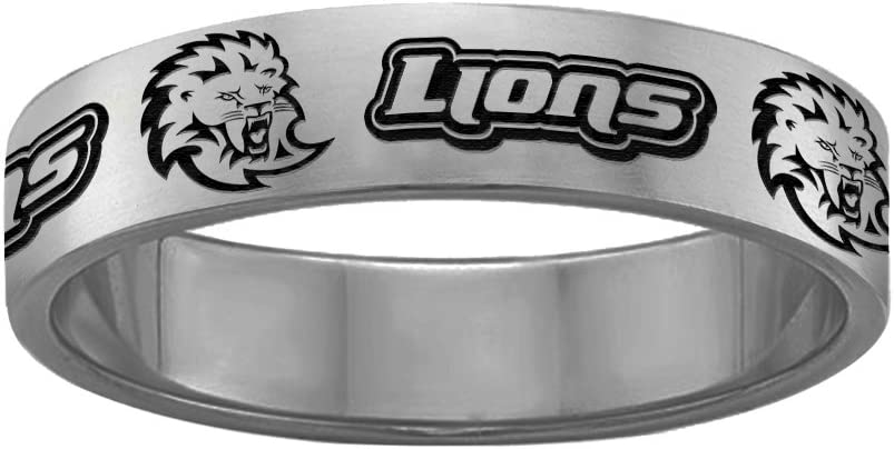 College Jewelry Southeastern Louisiana Lions Ring Stainless Steel 6MM Wide Band Full Logo Style