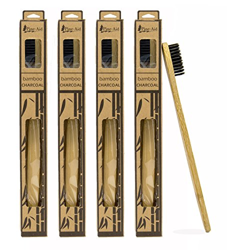 Bamboo Toothbrush With Charcoal Infused Soft Bristles Made From Naturally Organic, Eco-Friendly & Biodegradable Materials (4 Pack)