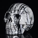 "Mineralbiz 1.3""- 1.5"" Length Natural Line Picasso Jasper Carved Human Skull Head Stone Carving, Crystal Skull Sculpture"