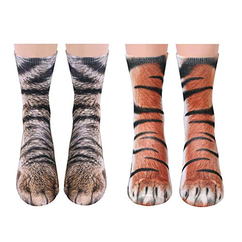Libertepe 2 Pairs Unisex Animal Paw Socks 3D Print Novelty Socks for Women Men Kids Tiger and Cat]()