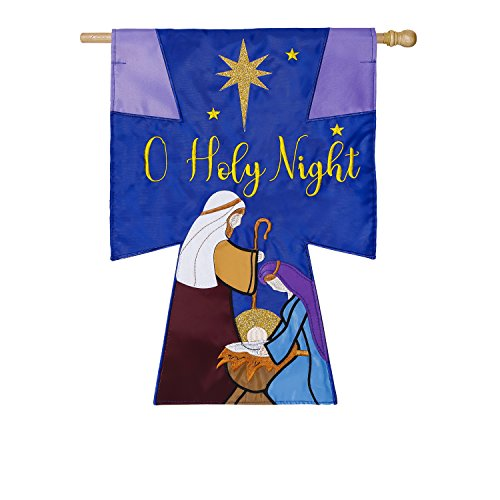 Evergreen Oh Holy Night Outdoor Safe Double-Sided Applique House Flag, 28 x 44 inches