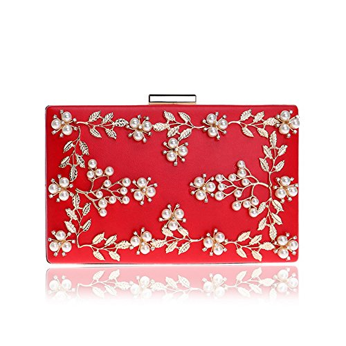 Red Party Women Wedding Leaves Small Pearl Handbag Bridal Bag Purses Evening Clutch Bag Flower x1Rqw01aO