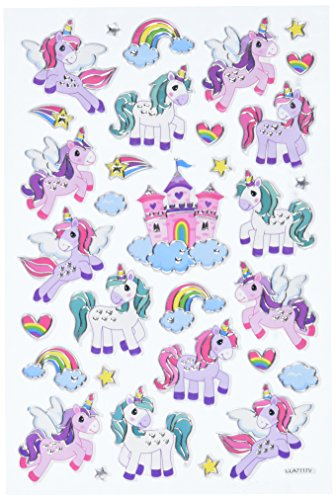 Multicraft Imports SS060U Unicorn Fairytale Craft Foil Fun Stickers, (Unicorn Stickers)