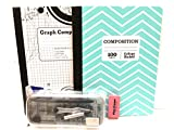 Green Chevron Graph Book And Protractor 12 Pc Bundle