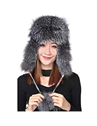 qmfur Womens Winter Real Fox Fur Hat Genuine Leather Adjustable Russian Trapper Hats