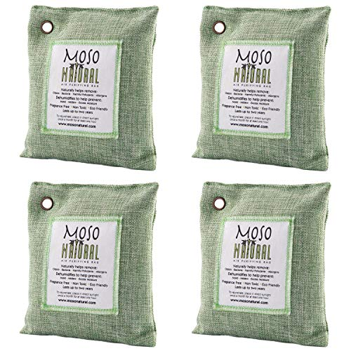 MOSO NATURAL Air Purifying Bag 4 Pack. Bamboo Charcoal Air Freshener, Deodorizer, Odor Eliminator, Odor Absorber for Cars and Closets. 200g Green Color