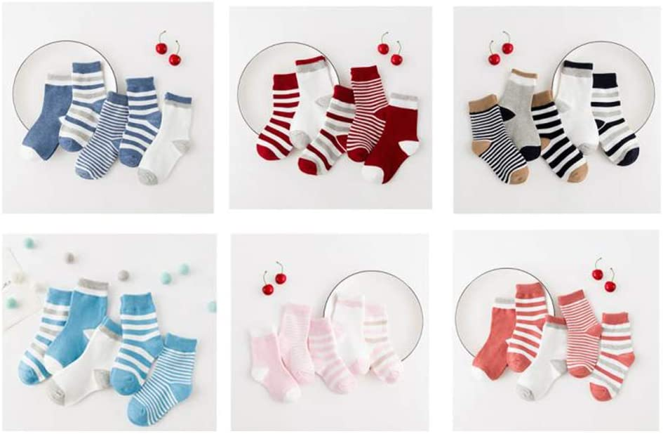 5 Pairs Toddler Baby Boy Girl Breathable Soft Cotton Anti-Slip Striped Socks Perfect Fun time Play Activity for Infants /& Toddlers Blue S Anniston Baby Accessories