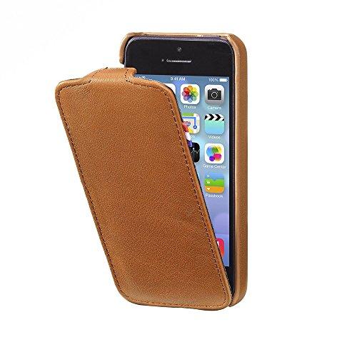 Decoded - D3IPO5FC1BNCV - Apple iPhone 5 Leder Flipcase Hülle in Vintage Braun