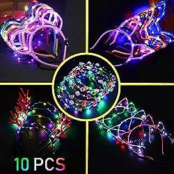 10 diademas de orejas de gato + corona de flores brillantes con luz LED que brillan en la oscuridad, para mujeres, niñas, disfraz de diadema parpadeante con luces LED para concierto, fiesta, Halloween, Navidad, boda