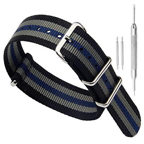 18mm Black/Grey/Blue High-end Superior NATO Style Ballistic Nylon Watch Band Strap Replacement for Men