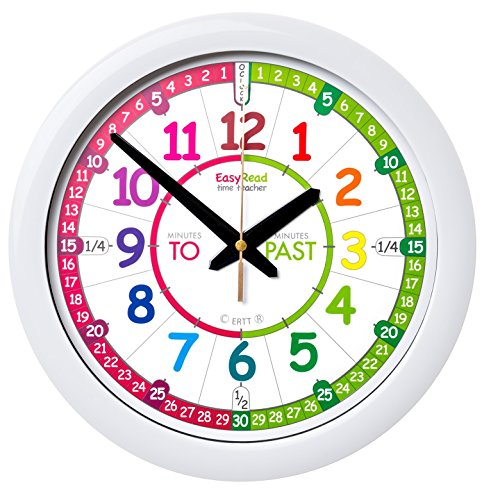 (EasyRead Time Teacher Children's Wall Clock with Simple 3 Step Teaching System. 12