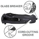 Multifunction Outdoors Fixed Blade Hunting Knife Glass Breaker, Bottle Opener,Seat Belt Cutter for Men/Women/Adult
