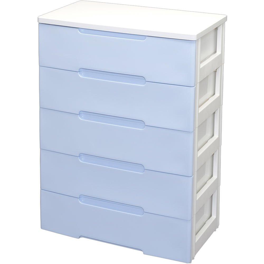 アイリスオーヤマ チェスト ウッドトップ 5段 幅73×奥行41.5×高さ100㎝ ブルー/ホワイト HG-725R B0742L61DX5段