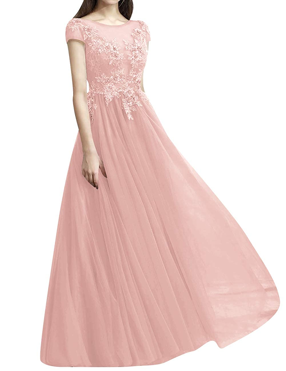 Pink ASBridal Prom Dresses Long Evening Dress Short Sleeve Tulle Prom Evening Gowns Formal Party Dress