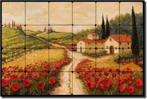(Red Poppy Road by Joanne Morris Margosian - Tuscan Landscape Tumbled Tile Marble Mural 16