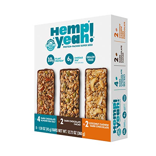 Manitoba Harvest Hemp Yeah! Bars Variety Pack (8 Bars), 10g Plant Protein, Grain Free, Gluten Free, 6g Omegas 3&6, Healthy Granola Bar Alternative
